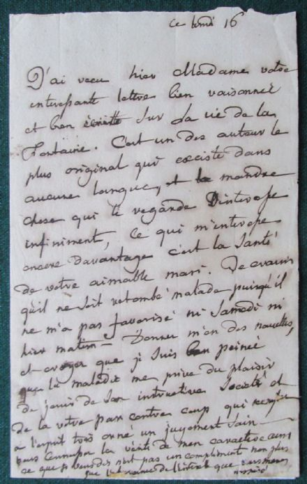 Countess of Albany Signed Letter Wife Bonnie Prince Charlie Jacobite Pretender